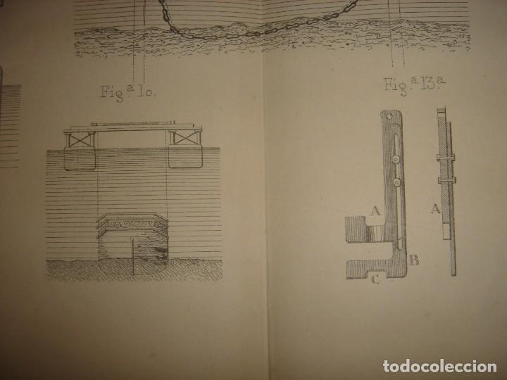 Arte: ESPLÉNDIDO GRABADO TECNOLOGÍA, SIGLO XIX, EXTRACCIÓN DE BUQUES SUMERGIDOS, MADRID, ORIGINAL 1879 - Foto 7 - 194998411