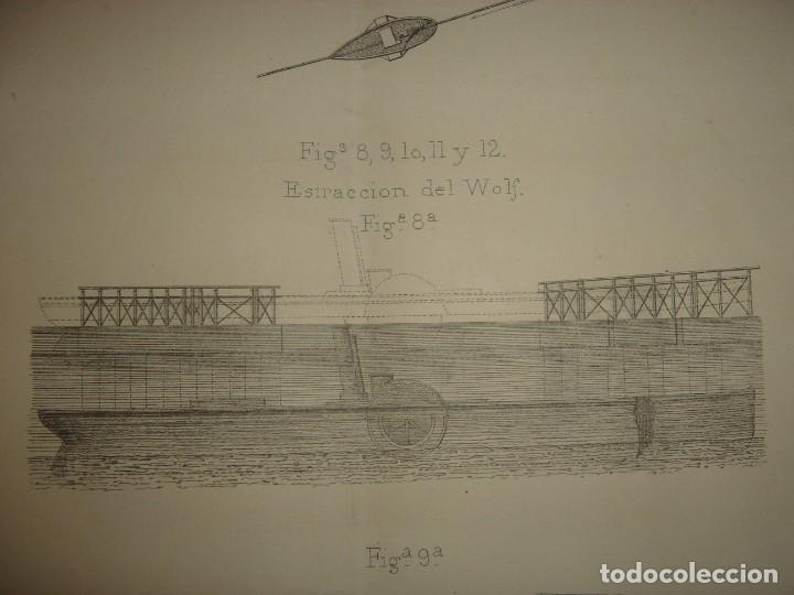 Arte: ESPLÉNDIDO GRABADO TECNOLOGÍA, SIGLO XIX, EXTRACCIÓN DE BUQUES SUMERGIDOS, MADRID, ORIGINAL 1879 - Foto 9 - 194998411