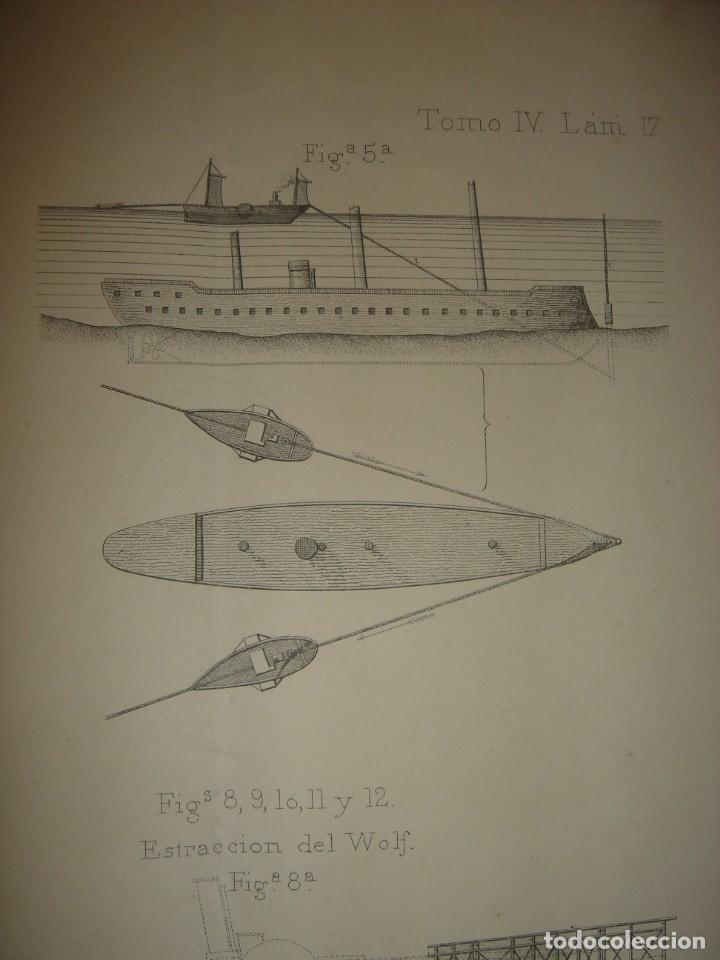 Arte: ESPLÉNDIDO GRABADO TECNOLOGÍA, SIGLO XIX, EXTRACCIÓN DE BUQUES SUMERGIDOS, MADRID, ORIGINAL 1879 - Foto 10 - 194998411
