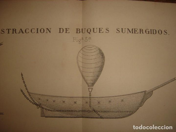 Arte: ESPLÉNDIDO GRABADO TECNOLOGÍA, SIGLO XIX, EXTRACCIÓN DE BUQUES SUMERGIDOS, MADRID, ORIGINAL 1879 - Foto 12 - 194998411