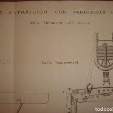 Arte: GRABADO TECNOLOGÍA, SIGLO XIX, CAJA DE EXTRACCIÓN CON PARACAIDAS, MADRID, ORIGINAL 1879.. Lote 195002760