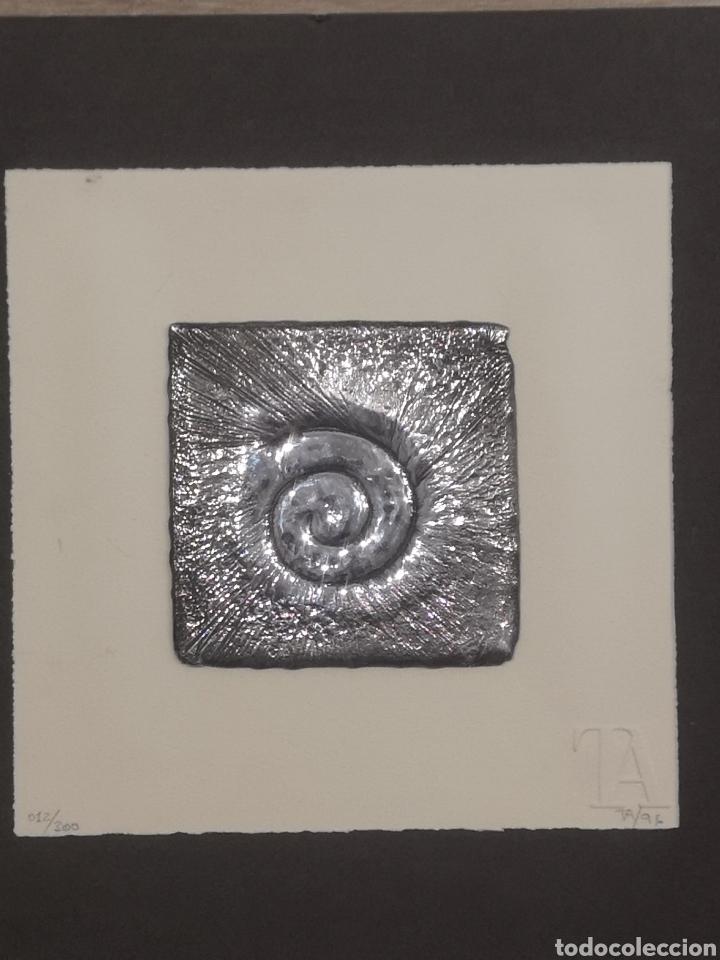 PINTADERAS CANARIAS, ANTIGUOS SIMBOLOS ABORIGENES, GRABADO SOBRE ALUMINIO RECICLADO (Arte - Grabados - Contemporáneos siglo XX)