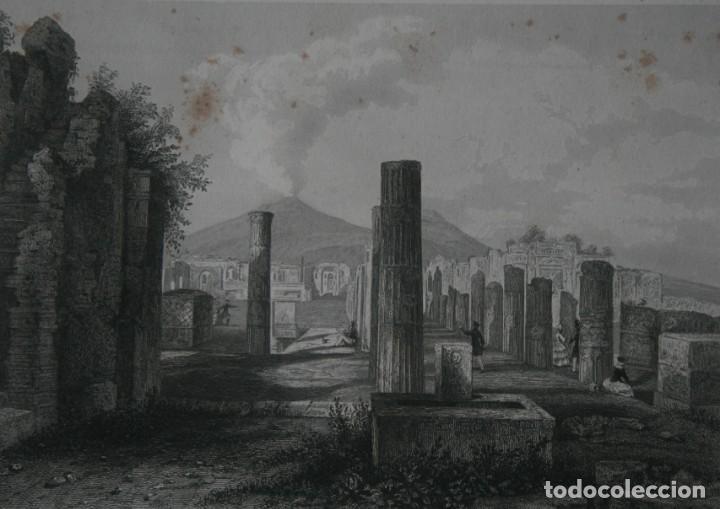 FRANCIA, ANTIGUO GRABADO CHARDON AINÉ HAUTEFEUILLE PARIS FURNE SIGLO XIX : FORO DE POMPEA POMPEYA (Arte - Grabados - Modernos siglo XIX)