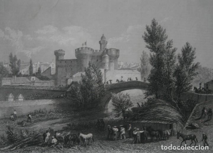 FRANCIA, ANTIGUO GRABADO CHARDON AINÉ FILS HAUTEFEUILLE PARIS FURNE SIGLO XIX : CASTILLO DE PERPIÑAN (Arte - Grabados - Modernos siglo XIX)