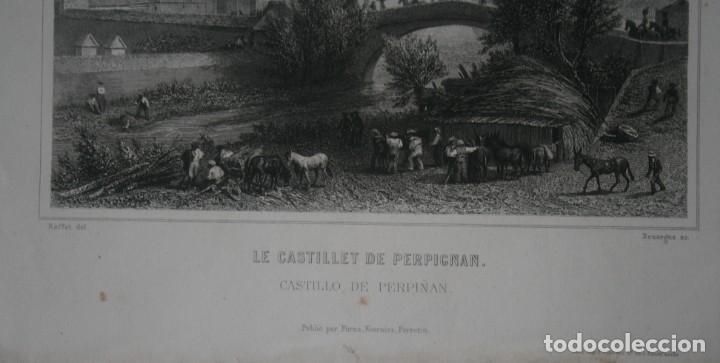 Arte: FRANCIA, ANTIGUO GRABADO CHARDON AINÉ FILS HAUTEFEUILLE PARIS FURNE SIGLO XIX : CASTILLO DE PERPIÑAN - Foto 3 - 195031033