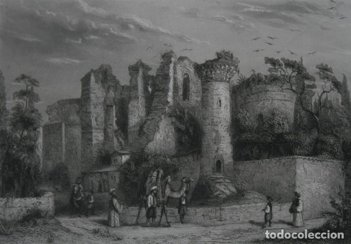 FRANCIA, ANTIGUO GRABADO CHARDON AINÉ ET FILS HAUTEFEUILLE PARIS FURNE SIGLO XIX : RUINAS DE PERGAMO (Arte - Grabados - Modernos siglo XIX)