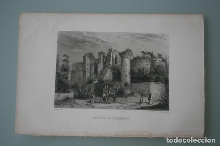 Arte: FRANCIA, ANTIGUO GRABADO CHARDON AINÉ ET FILS HAUTEFEUILLE PARIS FURNE SIGLO XIX : RUINAS DE PERGAMO - Foto 2 - 195031132