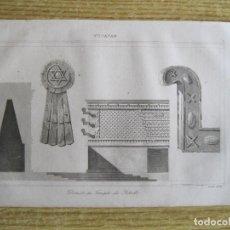 Arte: ARTE MAYA. DETALLES DEL TEMPLO DEL SOL (YUCATÁN, MÉXICO), HACIA 1825. GAUCHEREL/LEMAITRE. Lote 195080941