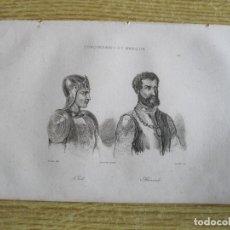 Arte: HISTORIA DE MÉXICO. CONQUISTADORES OLID Y DE ALVARADO, 1825. VERNET/ LEMAITRE /CHAILLOT. Lote 195091405
