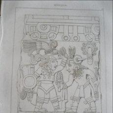 Arte: RELIEVE DE UNA PIEDRA DE SACRIFICIOS AZTECA (MÉXICO), CA. 1825. NOBEL /BIGANT. Lote 195092167