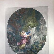 Arte: LE SERMENT D'AMOUR GRABADA POR J. MATHIEN SOBRE OBRA DE FRAGONARD. Lote 195097686