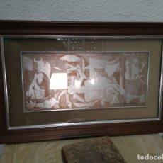 Arte: GRABADO PABLO PICASSO EL GUERNICA EN PLATA FINA ENMARCADO. Lote 195177872