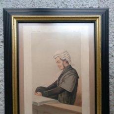 Arte: CARICATURA ENMARCADA CON CRISTAL VANITY FAIR 1874 ABOGADO NERVIOSO. Lote 195192236