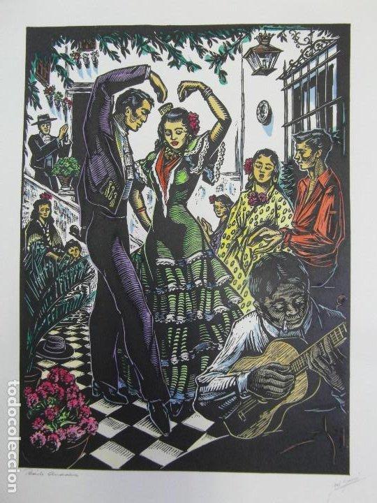 Arte: *Josep Gumí Cardona* Xilografía *Baile Andaluz* Meds. papel: 35x70 cms. Sin numerar. Fechado 56. - Foto 2 - 195201716