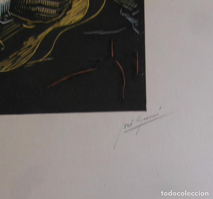 Arte: *Josep Gumí Cardona* Xilografía *Baile Andaluz* Meds. papel: 35x70 cms. Sin numerar. Fechado 56. - Foto 4 - 195201716