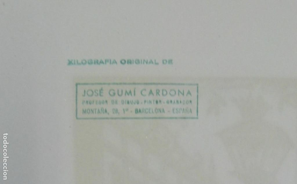 Arte: *Josep Gumí Cardona* Xilografía *Baile Andaluz* Meds. papel: 35x70 cms. Sin numerar. Fechado 56. - Foto 6 - 195201716