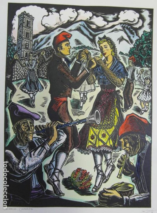 Arte: *Josep Gumí Cardona* Xilografía *Sardana. Cataluña* Meds. papel: 35x70 cms. Sin numerar. Fechado 56. - Foto 2 - 195202088