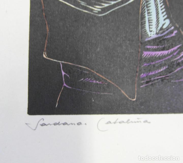 Arte: *Josep Gumí Cardona* Xilografía *Sardana. Cataluña* Meds. papel: 35x70 cms. Sin numerar. Fechado 56. - Foto 3 - 195202088