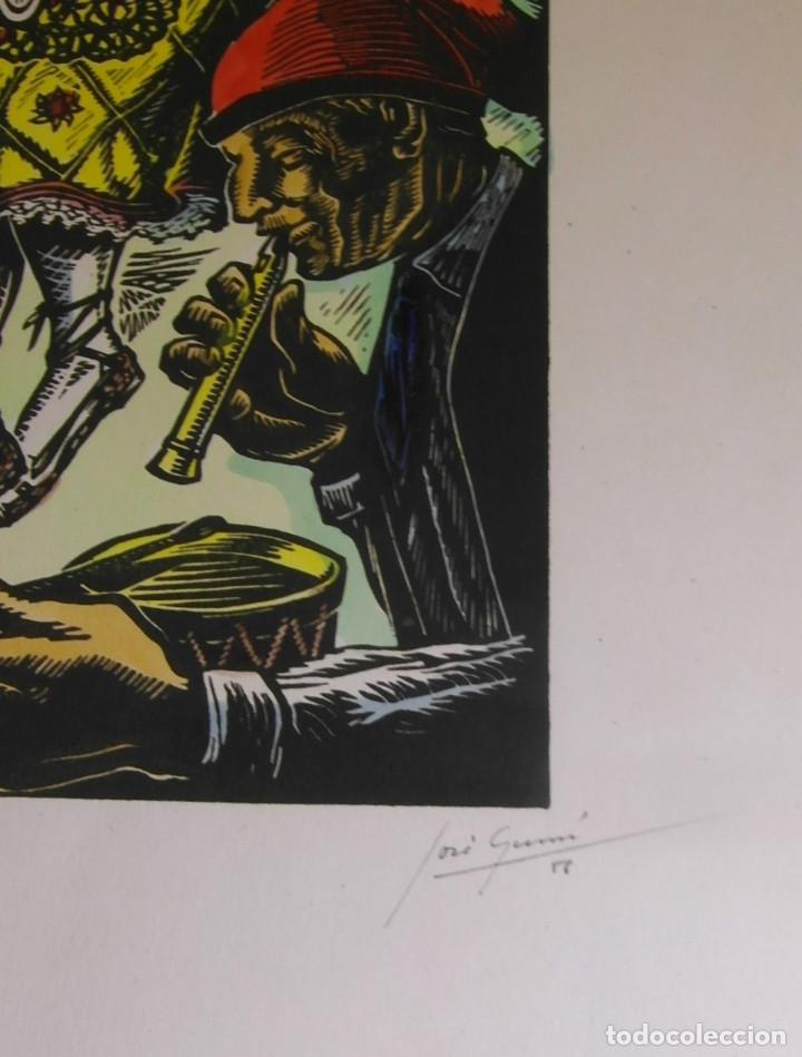 Arte: *Josep Gumí Cardona* Xilografía *Sardana. Cataluña* Meds. papel: 35x70 cms. Sin numerar. Fechado 56. - Foto 4 - 195202088