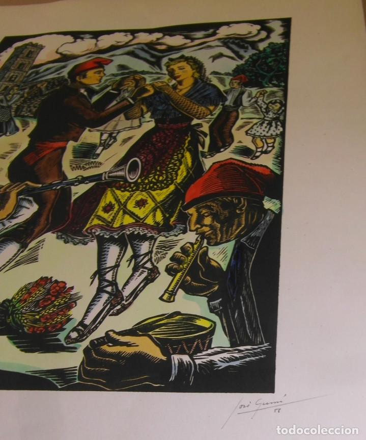Arte: *Josep Gumí Cardona* Xilografía *Sardana. Cataluña* Meds. papel: 35x70 cms. Sin numerar. Fechado 56. - Foto 5 - 195202088