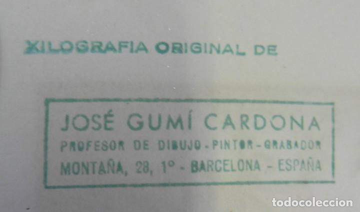 Arte: *Josep Gumí Cardona* Xilografía *Sardana. Cataluña* Meds. papel: 35x70 cms. Sin numerar. Fechado 56. - Foto 7 - 195202088