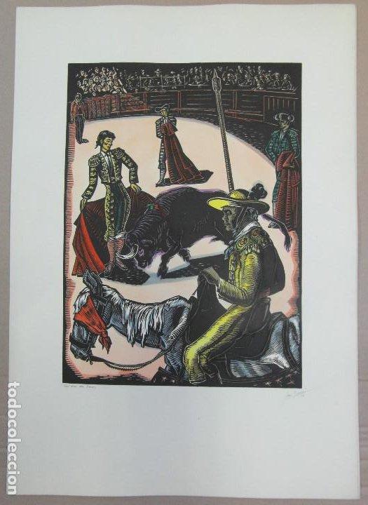 *JOSEP GUMÍ CARDONA* XILOGRAFÍA *CORRIDA DE TOROS* MEDS. PAPEL: 35X70 CMS. SIN NUMERAR. FECHADO 56. (Arte - Grabados - Contemporáneos siglo XX)