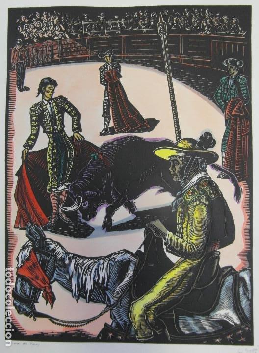 Arte: *Josep Gumí Cardona* Xilografía *Corrida de toros* Meds. papel: 35x70 cms. Sin numerar. Fechado 56. - Foto 2 - 195202360