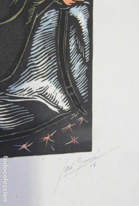 Arte: *Josep Gumí Cardona* Xilografía *Corrida de toros* Meds. papel: 35x70 cms. Sin numerar. Fechado 56. - Foto 4 - 195202360