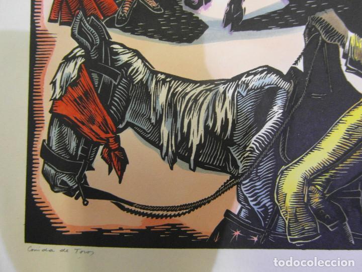 Arte: *Josep Gumí Cardona* Xilografía *Corrida de toros* Meds. papel: 35x70 cms. Sin numerar. Fechado 56. - Foto 7 - 195202360