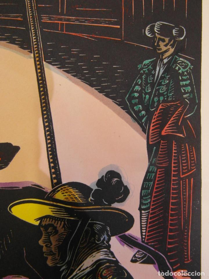 Arte: *Josep Gumí Cardona* Xilografía *Corrida de toros* Meds. papel: 35x70 cms. Sin numerar. Fechado 56. - Foto 8 - 195202360