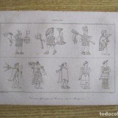 Arte: TRAJES DISEÑADOS POR PINTORES DE LA ÉPOCA DE MOCTEZUMA, 1825. LEMAITRE/BIGANT. Lote 195237047