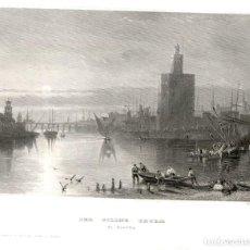 Arte: ORIGINAL 1840 - SEVILLA - THE GOLDEN TRURM - TORRE DEL ORO Y RIO GUALQUIVIR - VERLEGER. Lote 195268900