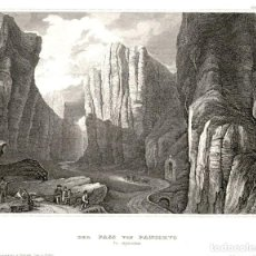 Arte: ORIGINAL 1840 - PASO DE PANCORBO - DER PASS VON PANCORVO IN SPANIEN - BURGOS - XILOGRAFIA. Lote 195269227