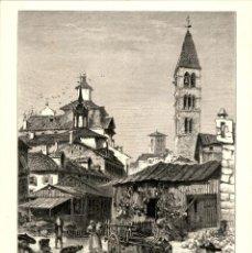 Arte: ORIGINAL 1860 - VALLADOLID - PLAZA DEL MERCADO - MARKET PLACE - PICTURESQUE EUROPE. Lote 195269386