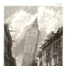 Arte: ORIGINAL - 1840 - ZARAGOZA - TORRE NUEVA - ESPAÑA - XILOGRAFIA ALEMANA - VERLEGER. Lote 195279936