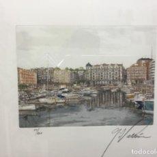 Arte: GRABADO FERNANDO GARCIA VALDEON SANTANDER ENMARCADO . Lote 195300150