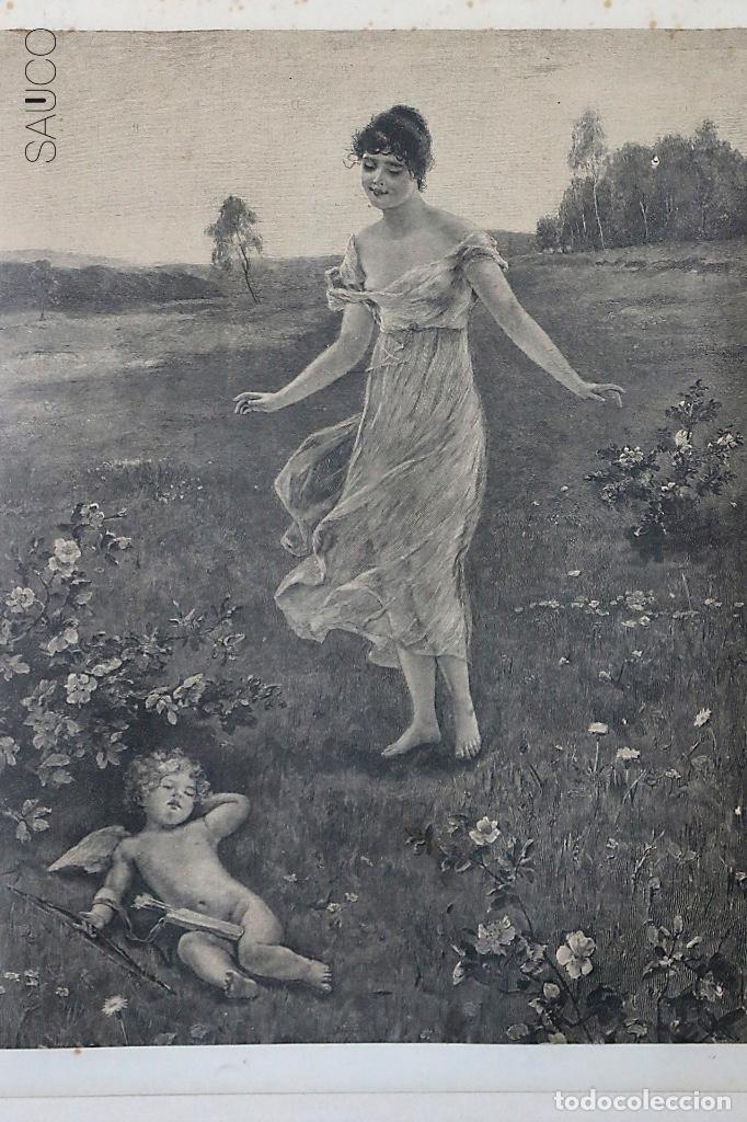 GRABADO MUJER Y CUPIDO (Arte - Grabados - Contemporáneos siglo XX)