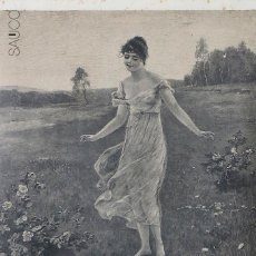 Arte: GRABADO MUJER Y CUPIDO. Lote 195307878