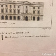 Arte: PLANO CORTE Y ELEVACION DE LA LONJA DE BARCELONA. DE LABORDE 1811. . Lote 195319128