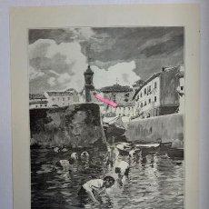 Arte: LA PESCA DE LA ALMEJA. DIBUJO DEL NATURAL DE JOAQUÍN SOROLLA.. Lote 195396077