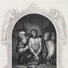 Arte: GRABADO AL ACERO DE 1864, JESÚS ANTE PILATO, JUICIO. THOMAS KELLY & CO., FLEETWOOD. Lote 195416285