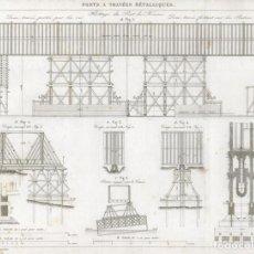 Arte: GRABADO DE INGENIERÍA CIVIL DE 1864, PUENTES FERROVIARIOS CON TRAMOS METÁLICOS, PUENTE DE KAUNAS. Lote 195421471