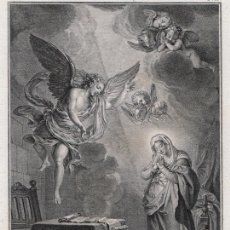 Arte: GRABADO A BURIL DE 1804, ANUNCIACIÓN DE LA VIRGEN MARÍA, ANTOINE COYPEL, FRANÇOIS PIGEOT, EN CUARTO. Lote 195422421
