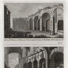 Arte: GRABADO A BURIL DE 1795, DOS VISTAS DE ROMA, DOMENICO PRONTI, TERMAS DE CARACALLA Y CURIA HOSTILIA. Lote 195422433