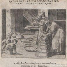 Arte: EMBLEMA S.XVII (1609), GRABADO DE COBRE, MIKROKOSMOS PARVUS MUNDUS #50, GERARD DE JODE, PRIMER OLOR. Lote 195429847