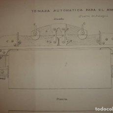 Arte: GRABADO TECNOLOGÍA, SIGLO XIX, TENAZA AUTOMÁTICA, PUERTO PASAJES GUIPUZCOA, ORIGINAL, MADRID, 1879.. Lote 195463172
