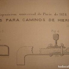 Arte: GRABADO TECNOLOGÍA, SIGLO XIX, VIAS PARA CAMINO DE HIERRO, ORIGINAL, MADRID, 1879.. Lote 195469926
