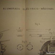 Arte: GRABADO TECNOLOGÍA, SIGLO XIX, ALUMBRADO ELÉCTRICO MÁQUINAS, ORIGINAL, MADRID, 1879.. Lote 195500455