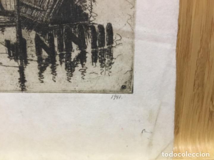 Arte: Grabado firmado f.d. 17.1941.autor desconocido. - Foto 6 - 195590263