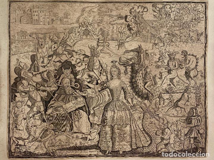 GRABADO AÑO 1719 - LAS TENTACIONES DE SAN ANTON - EL GRAN PADRE SAN ANTON ABAD - JUAN D AMARGOS (Arte - Grabados - Antiguos hasta el siglo XVIII)